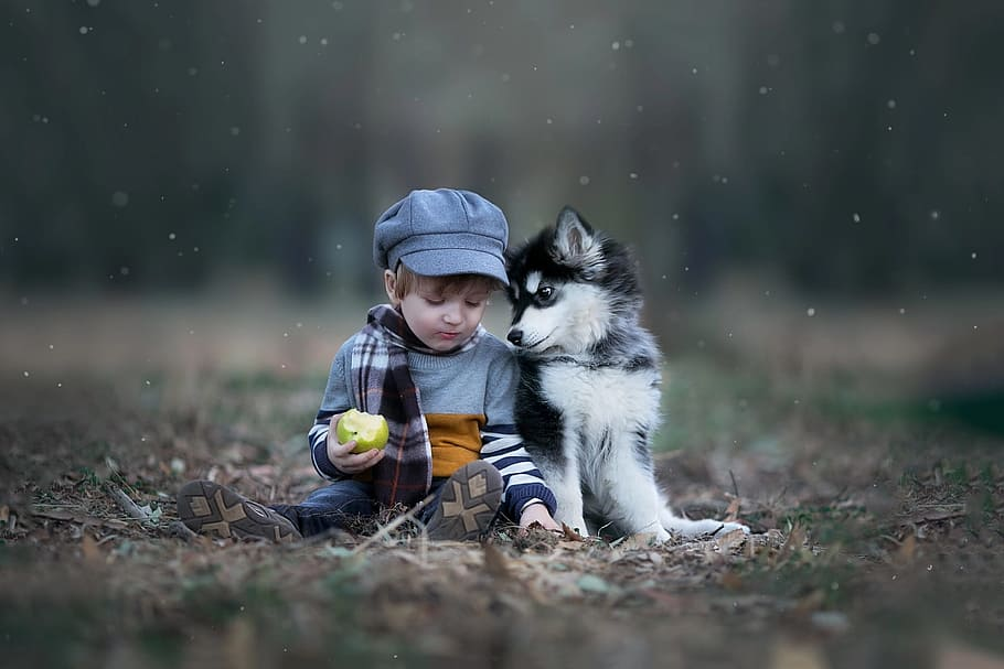 outdoors-child-nature-puppy